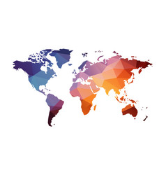 red blue geometric world map vector image