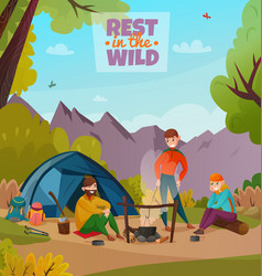 Rest halt camping composition vector