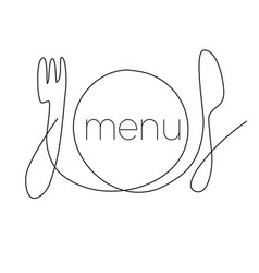 restaurant menu continuous thin line vector image