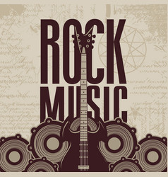 Rock music banner with guitar and audio speakers vector