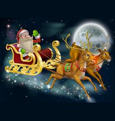 santa claus sleigh scene vector image