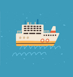 scene with ship floating in sea or ocean side vector image