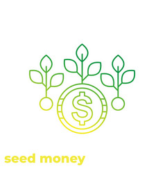 Seed money icon linear vector