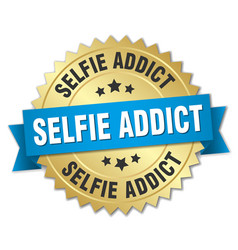 selfie addict round isolated gold badge vector image