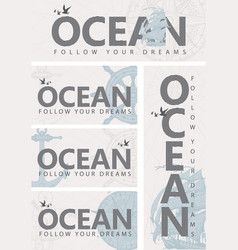set banners on theme ocean vector image