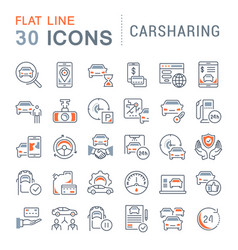 set line icons carsharing vector image