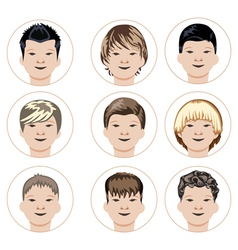 Set of boys faces vector