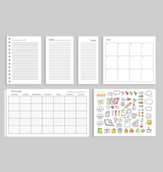 set of calendar daily plans vector image