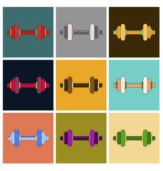 set of icons in flat design dumbbell vector image