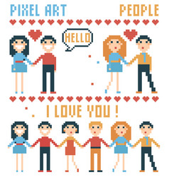 Set of pixel people words hearts vector