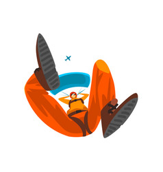 Skydiver flying with parachute bottom view vector