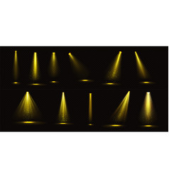 stage lights yellow beams with gold sparkles set vector image