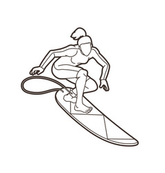 surfing sport female player cartoon outline vector image