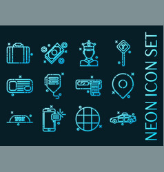 taxi set icons blue glowing neon style vector image