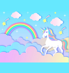 unicorn cloudsrainbow and stars vector image