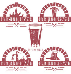 Vintage grunge labels set of pub and pizza vector
