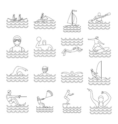 Water sport icons set outline style vector image