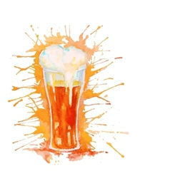 Watercolor glass of beer isolated on white vector