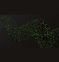 Wave from green dots on a black background vector