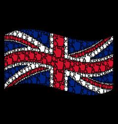 waving british flag pattern of index finger items vector image