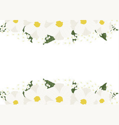 white cosmos and green hydrangea flowers vector image