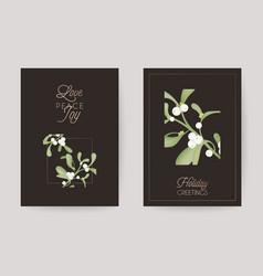 winter christmas floral mistletoe greeting card vector image