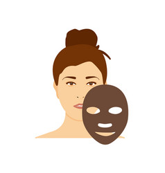 Woman apply charcoal brown mask on her face vector