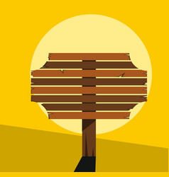 Wood sign in yellow background vector