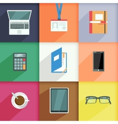 Workplace Business Icons Set vector image