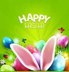 easter greeting card with hare ears vector image vector image