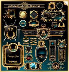 golden labels and design elements vector image vector image