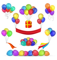 helium balloons and birthday decoration icons vector image vector image