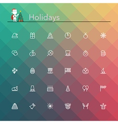 Holidays Line Icons vector image vector image
