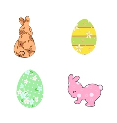 Rabbits and Easter eggs pastel vector image vector image