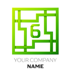 Realistic number six logo in colorful square maze vector