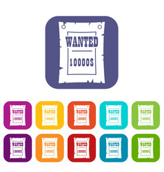vintage wanted poster icons set flat vector image
