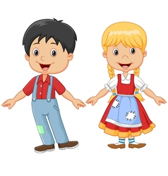 Cartoon little kid happy hansel and gretel vector image vector image