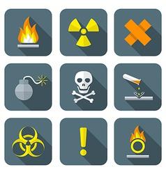 colorful flat style hazardous waste symbols vector image