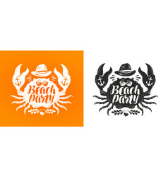 crab typographic design travel journey concept vector image vector image