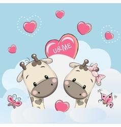 Cute Lovers Giraffes vector image vector image