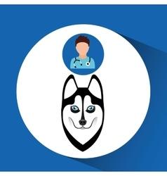 Doctor cartoon veterinarian dog siberian vector