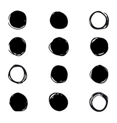 set of drawn ink stain abstract circle vector image vector image