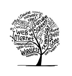art tree concept with internet technology tags vector image