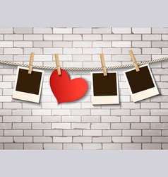 Background with heart and photos Valentines day vector image vector image