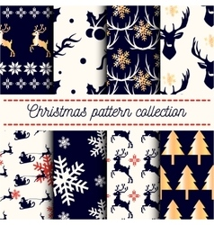 collection of seamless Merry Christmas vector image