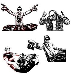 four disc jockeys vector image vector image