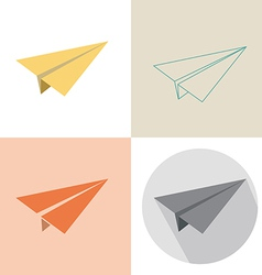 Paper plane in four design vector image vector image