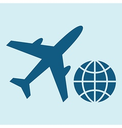 Plane and globe icons vector image