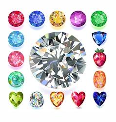 Rectangular composition colored gems set vector image