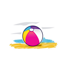 colorful beach ball icon vector image vector image
